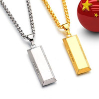 Wholesale Cube Link - hot sale!!! Cube Bar Bullion Necklace & Pendant Gold Plated necklace Hiphop BRAND Dance Charm Franco Chain Hip Hop Golden Jewelry For Gifts.
