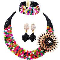 чудесные украшения оптовых-Wonderful Black Muticolor African Imitation Crystal  Handmade Bridal Jewelry Sets 5C-SZ-03