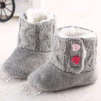 mädchen strickte wollstiefel großhandel-Baby-Mädchen-Winter-Schnee-Aufladungshäkelarbeit-Knit-Vlies-Baby beschuht Kleinkind-Wollkind-warme weiche Sohle-erste Wanderer-Baumwollunterseiten-Schuhe