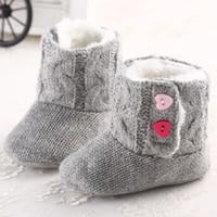 bebek tığ işi kar pamuk çizmeleri toptan satış-Bebek Kız Kış Kar Botları Tığ Örgü Polar Bebek ayakkabı Toddler Yün Bebek Sıcak Yumuşak Sole İlk Yürüyüşe Pamuk Alt Ayakkabı