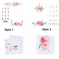 Wholesale cotton wraps online - 100cm Unicorn Photography Blankets Newborn Baby Flower Wrap Background Props Photo Prop Backdrops Easter Infant Soft Blanket AAA754
