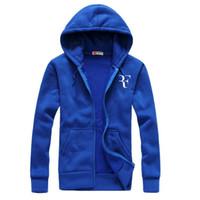 Wholesale mens slim hoodies wholesale - Wholesale- Fashion Roger Federer RF Print Hoodies Men Casual Hip Hop Long Sleeve Mens zipper Hoodie Sweatshirts Man Hoody Clothing