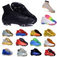 Wholesale Blue Springs Soccer - Mens Mercurial Superfly CR7 V AG FG Football Boots Ronaldo High Ankle Magista Obra II ACC Soccer Shoes Neymar JR Phantom IC TF Soccer Cleats