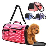 полая модельная сумочка оптовых-Складная сумка для домашних животных полоса круглая точка шаблон собака перевозчик выдолбленные дизайн безопасности дышащий щенок сумка для открытый путешествия 33za2 YB