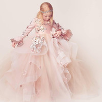Wholesale Tulle Fluffy Flower Girl Dresses - Luxury Fluffy Flower Girl Dresses For Weddings 3D Floral Appliques V-Neck Long Sleeve Lace-Up Girl's Birthday Dress Gorgeous Pageant Dress