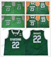 Wholesale Apple Magic - Michigan State Spartans #22 Miles Bridges 23 Draymond Green 33 Earvin Magic Johnson Apple Green NCAA MSU College Basketball Jerseys S-3XL