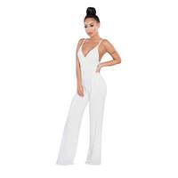 5ce9957ea2d Moda Verão Sexy Backless Jumpsuit Camisola Elegante Branco Night Party  Macacões Cintura Alta Skinny Largo Perna Calças Macacões