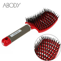 Wholesale red hairbrush - Abody Hair Brush Scalp Hairbrush Comb Professional Women tangle Hairdressing Supplies brushes combos for Tools hair hello kitty