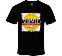 освещение логотипа пива оптовых-Medalla свет логотип популярные пиво Лагар алкогольные напитки DrinkMen футболки черный рукав футболка Homme футболка