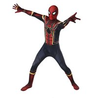 Wholesale anime avengers online - Superhero The Avengers Spiderman Homecoming Cosplay Rompers Costume Zentai Iron Spider man Bodysuit Jumpsuits