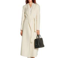 женская кашемировая шерсть оптовых-2018 осень зима мода женщины теплый полушерстяные пальто длинные дамы тонкий отложным воротником кашемировое пальто с поясом