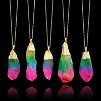 Wholesale rainbow crystal gemstone - 1 Pcs Plated Natural Quartz Necklace Rainbow Crystal Gemstone Colorful Stone Pendant Crafts Gifts Irregular Neck Drop DDA433