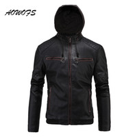 Wholesale Leather Coat Hood Men - Wholesale- AOWOFS Fashion Hooded Mens Winter Leather Jackets Slim Fit Quilted Moto Jackets Coats Fleece Liner PU Leather Jacket with Hood