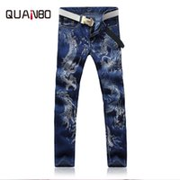 китайские рисунки драконов оптовых-QUANBO Brand 2018 High Quality Dragon Print Men's Jeans Men's Vintage Chinese Dragon Pattern Trousers Chinese style slim pants