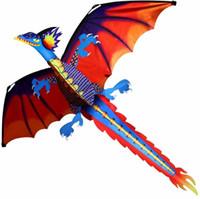 ingrosso coda di aquilone-Spedizione gratuita Classic Dragon Kite 140cm X 120cm Con coda e manico Single Line Buona Flying High Altitude