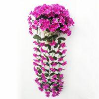 menekşe bitkileri toptan satış-Bitki Düğün Ev Bahçe Balkon Dekorasyon Asma Garland Wall için Çevre Dostu Renkli Yapay İpek Menekşe Ivy asın Çiçek