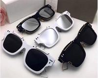 esboço de moda venda por atacado-2018 nova marca de moda óculos de sol preto resina sintética moldura quadrada com contorno de metal ouro esboço estilo retro óculos de sol anti-uv