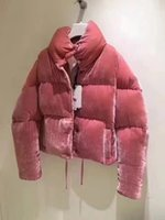 telas de vestir al por mayor-Oferta especial 2019 Moda Mujer Down Jacket Pink Velour Fabric Winter M Brand Stand Collar Women Dress Down Coat