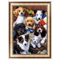 pintura animal de la familia al por mayor-DIY 5D Mosaico de Pintura Diamante Kits de punto de Cruz Salón de Cachorro Familia Animal Circular Drill Dormitorio Decoración Del Hogar 9lx bb