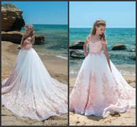doğum günü kız kapağı toptan satış-Fildişi Pembe Dantel Kızlar Pageant elbise Sheer Boyun Cap Kollu Aplikler Tül Kat Uzunluk Balo Doğum Günü Tatil Gençler Için Elbiseler 437