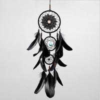 schwarze glockenspiele großhandel-Dreamcatcher handgemachte Dream Catcher Net mit Federn schwarz Windspiele Wandbehang Auto Anhänger Ornament Party Geschenk Dekoration