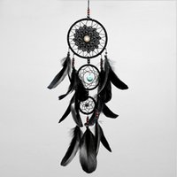Wholesale cloth money for sale - Group buy Dreamcatcher Handmade Dream Catcher Net With Feathers Black Wind Chimes Wall Hanging Car Pendant Ornament Party Gift Home Decoration