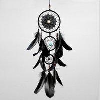 rüya avcısı ev dekorasyonu toptan satış-Dreamcatcher Tüyler Ile El Yapımı Dream Catcher Net Net Siyah Rüzgar Çanları Duvar Asılı Araba Kolye Süsleme Parti Hediye Ev Dekorasyon