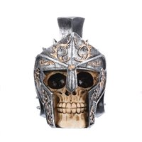 Wholesale resin skulls - HeyMamba Armor warrior Resin Skull Handicraft Human Skulls Head For Home Decoration Halloween Art Gifts