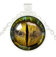 vidro cabochon olhos venda por atacado-Tridimensional dragão olho colar de pingente de olho colorido pingente de vidro cabochão cúpula colares jóias bestselling novo 500
