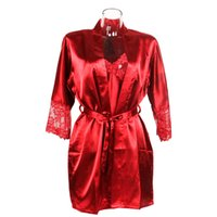 vestidos de dormir vermelhos venda por atacado-1 nightdress set sexy seda como pijama de cetim sleepwear sólida preto / vermelho robe mangas compridas rendas moda pijamas simples