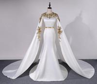fotos sexy vestidos formales al por mayor-Vestidos de noche de lujo con imagen real con oro satinado en el cabo 3D con apliques Vestidos de baile formales Longitud del piso Arabia Saudita Sirena Vestidos de fiesta personalizados