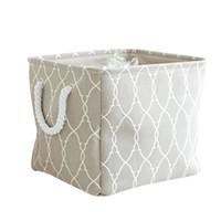 ingrosso zakka cesto-Scatole di stoccaggio pieganti della copertura del panno di stile di Zakka con gli scaffali di stoccaggio all'ingrosso di rifinitura del canestro di stoccaggio della maniglia