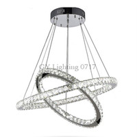 işık saçan daire kristali toptan satış-110 V 220 V Modern DIY 2 Yüzükler LED Kristal Avize Yüzük Işık Kristal Avizeler Daire süspansiyon işık fikstürü lampen cilası aydınlatma lambası