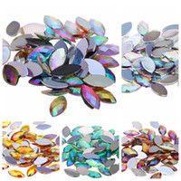 Wholesale Acrylic Rhinestones Flatback - 1000pcs 4x8mm Acrylic Horse Eye Earth Facets AB Colors 3D Nail Art Rhinestones Non HotFix Stones Flatback for Nails Decoration