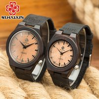 caja de reloj de cuero antiguo al por mayor-Reloj de pareja Reloj de pulsera de cuero genuino de lujo Reloj de pulsera de cuarzo negro antiguo Reloj de pulsera de madera para mujeres y hombres