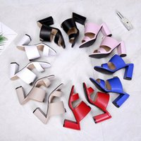 Wholesale narrow design - 8 Colors Brand Name Women High Heel Sandals Flip Flops Sexy V Genuine Leather Fashionable Design Gladiator Summer Shoes Slipper Size 34-40