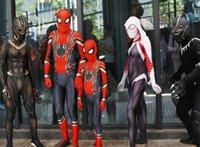 ingrosso costumi da supereroe del capretto di zentai-Costumi per bambini Spiderman Homecoming Costume Cosplay Zentai Iron Spider Man Supereroe Tute Suit Tute per bambini