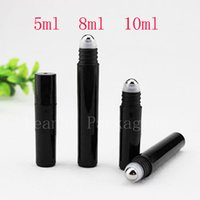 Wholesale 8ml roll perfume bottles - 5ml 8ml 10ml empty black roll on plastic container roller on perfumes bottles essential oil bottle with stainless steel ball