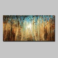 paneles de paisajes de petroleo al por mayor-Mintura Pintado a Mano Paisaje Abstracto Paisaje Abstracto Floral / Botánico Horizontal, Moderno Lienzo Pintura Al Óleo Decoración Del Hogar Un Panel