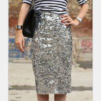 Wholesale sexy office wear womens - 2017 Sexy club party wear High Waist bling bling Glitter Bodycon Skirts Womens office lady pencil Sequin Skirt