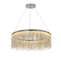 Wholesale nordic style chandeliers resale online - Modern fringed aluminum chain chandelier lights Nordic style Luxury Chandeliers Silver Rose Gold hanging lighting for living dining room