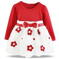 зимние платья для девочек оптовых-Зима Baby Girls одежда Baby Princess малыш новорожденный хлопок цветок костюм с длинным рукавом платье vestido infantil де bebes fille