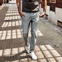 Wholesale pencil paint trouser resale online - Simwood New Spring Spray Painting Striped Jeans Men Skinny Thin Fashion Slim Fit Denim Trousers Sj6080