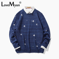Wholesale japanese wool long sweater - 2017 Autumn And Winter Men Rendering Sweater Men's Japanese Original Old Holes Long Sleeve Knitting Thin Solid Color Sweater