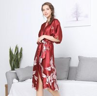 Wholesale night robes sexy online - Women sexy Nightwear Crane Print Sleepwear Robes Intimate night Gown Robes Kimono Exotic Apparel Babydolls Chemises