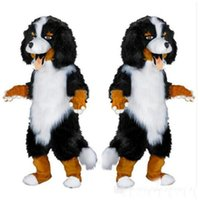 Wholesale Dog Customs - Fast shipping new design Custom White & Black Sheep Dog Mascot Costume Cartoon Character Fancy Dress for party supply Adult Size
