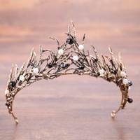 coroa de contas de rainha venda por atacado-Barato Pérola Nupcial Coroas Ramos Frisada de Prata de Ouro Tiaras De Noiva Headband De Cristal De Casamento Diadema Rainha Da Coroa Do Cabelo Do Casamento Acessórios