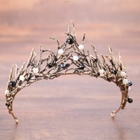 corona de cuentas reina al por mayor-Perlas barrocas Novia Coronas Ramas Con cuentas Oro Plata Nupcial Tiaras Diadema Cristal Boda Diadema Reina Corona Accesorios para el cabello