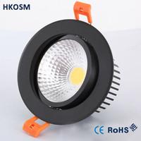 lámparas de techo led brillante al por mayor-Ahorro de energía COB Downlight LED Foco empotrable de techo Regulable 6w 9w 12w Luminaria de punto superbrillante Lámpara de iluminación de inundación