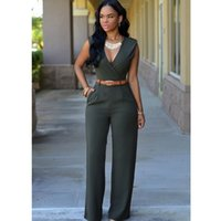 7c60d077c41 13 Colors Fashion New Brand Women Jumpsuit Solid Sexy V Neck Jumpsuits For  Office Lady Slim Bodysuit Summer Female Clothing